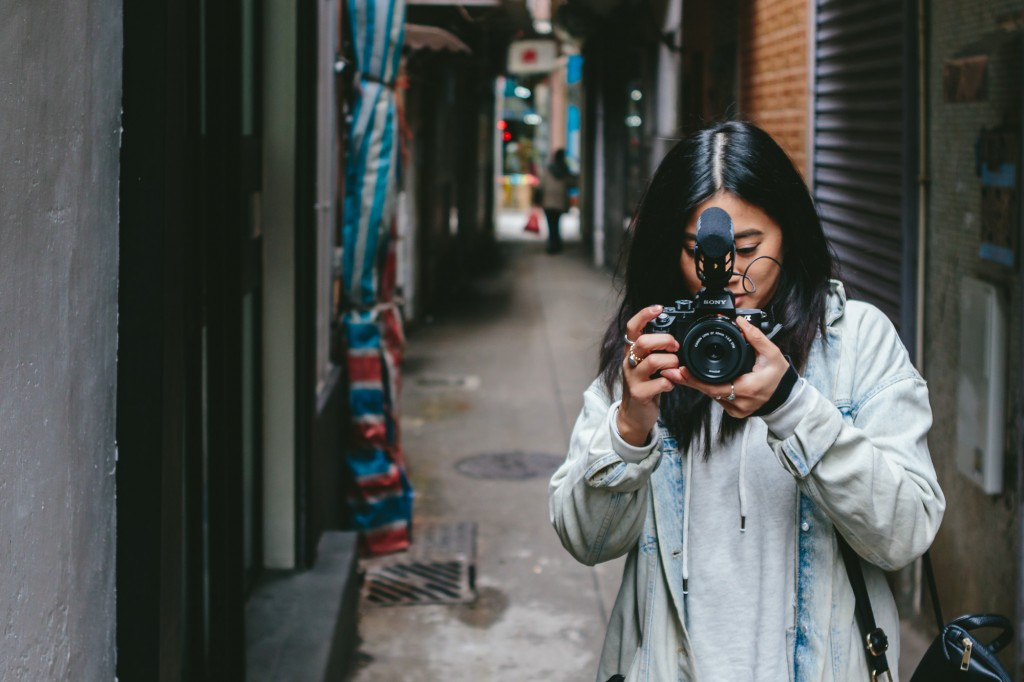 Elly filming with a Sony A7R II in Macau